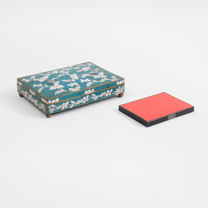 Chinese Blue-Ground Cloisonné Playing Card Holder and an Art Deco Black and Iron Red Enamel Cigarette Case