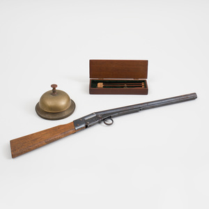 Miniature Wood Three-Part Fishing Rod in Mahogany Case, a Toy Rifle, and a Brass Turn Bell, Patented June 21, 1887