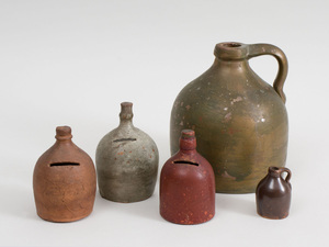 Three Pottery Jug-Form Coin Banks and Two Pottery Jugs