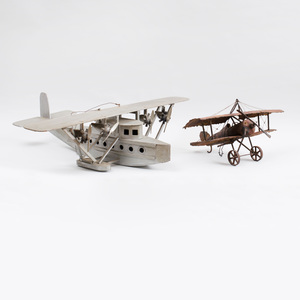 Silvered Wood Sea Plane Model and a Soldered Metal Model of a Bi-Plane