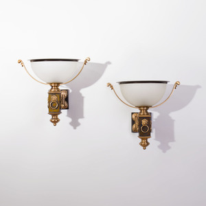 Pair of Patinated and Gilt-Bronze Wall Lights, of Recent Manufacture