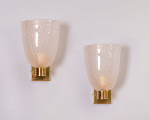 PAIR OF BRASS MOUNTED MURANO GLASS SCONCES