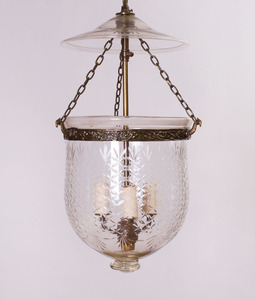 ANGLO-INDIAN BRASS-MOUNTED-GLASS HUNDI LANTERN