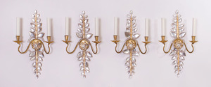 SET OF FOUR BAGUÈS STYLE GILT-METAL AND PRESSED-GLASS TWO-LIGHT SCONCES