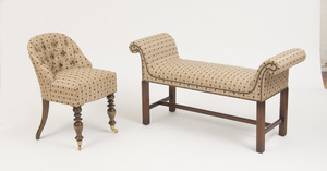 VICTORIAN STYLE BEECHWOOD SLIPPER CHAIR AND A GEORGE III STYLE MAHOGANY WINDOW BENCH