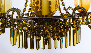 EARLY VICTORIAN BRASS-MOUNTED AMBER GLASS SIX-LIGHT CHANDELIER