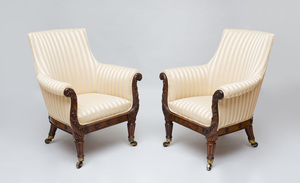 PAIR OF REGENCY CARVED ROSEWOOD LIBRARY ARMCHAIRS