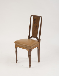ART NOUVEAU MAHOGANY MARQUETRY SIDE CHAIR, ATTRIBUTED TO EMILE GALLÉ