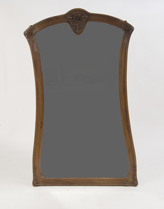 LARGE ART NOUVEAU CARVED WALNUT MIRROR, STYLE OF LOUIS MAJORELLE