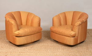 PAIR OF SILK-UPHOLSTERED SWIVEL ARMCHAIRS