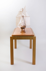 Fine Art Model Painted Wood and Cotton Model of the Privateer Schooner Lynx