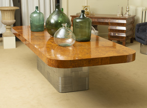 PAUL EVANS BRUSHED STEEL AND BURL THUYA WOOD EXTENSION DINING TABLE