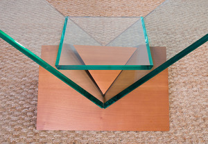 CHERRY AND GLASS CONSOLE TABLE