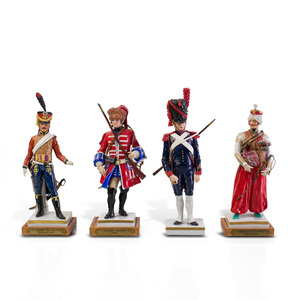 Four Sitzendorf Porcelain Military Figures