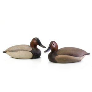 Pair of Ward Brothers Canvasback Painted Balsa Wood Duck Decoys