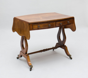 REGENCY ROSEWOOD, SIMULATED ROSEWOOD, AND YEWWOOD-BANDED SOFA TABLE