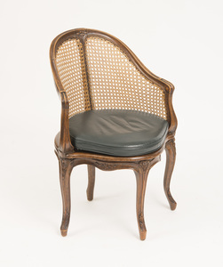 LOUIS XV STYLE BEECHWOOD AND CANED FAUTEUIL DE BUREAU