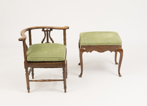 VICTORIAN WALNUT CORNER ARMCHAIR AND A QUEEN ANNE STYLE WALNUT STOOL