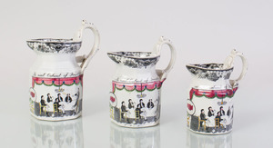THREE ENGLISH TRANSFER-PRINTED AND ENRICHED IRONSTONE GRADUATED OCTAGONAL JUGS