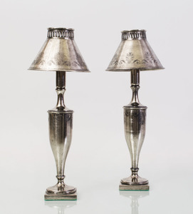 PAIR OF NEOCLASSICAL STYLE SILVERED LAMPS, MODERN