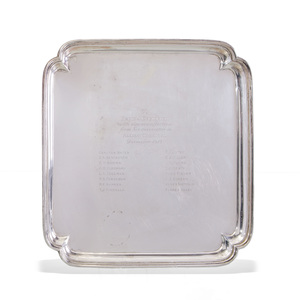 Ensko Silver Shaped Square Tray Engraved with Dedication