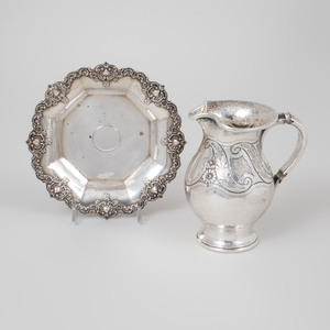 Portuguese Silver Hot Milk Jug and an American Silver Dish