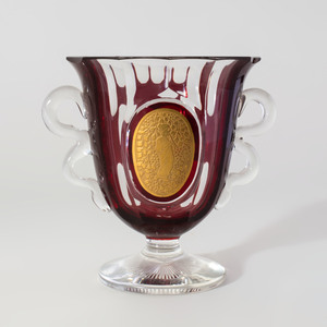 Wiener Werkstätte Gilt-Ruby Cased Glass Vase, in the Manner of Josef Hoffman