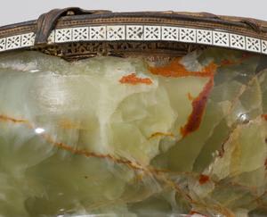Art Deco Style Enameled Copper-Mounted Onyx Bowl