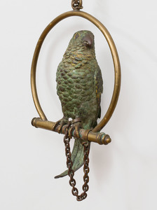 Austrian Cold Painted Bronze Parrot on a Perch, Possibly Franz Bergman