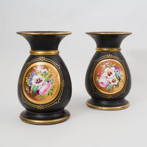 Pair of Paris Porcelain Painted and Parcel-Gilt Porcelain Vases