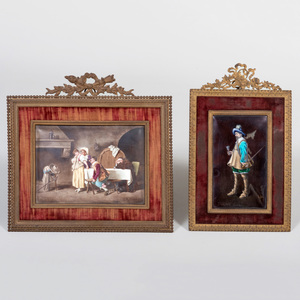 Two Continental Enamel on Copper Plaques in Louis XVI Style Frames, Probably Limoges