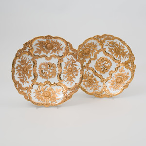Pair of Meissen Outside Decorated White Ground Porcelain Dishes