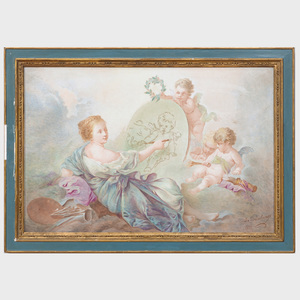 Continental Porcelain Plaque Painted with an Allegory of the Arts