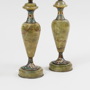 Pair of Continental Cloisonné Mounted Hardstone Table Lamps