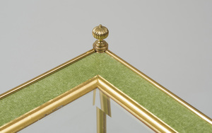 PAIR OF BRASS-MOUNTED GREEN CRAQUELLE AND PARCEL-GILT TWO-TIERED TABLES