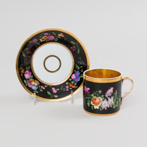Four Popov Black Ground Porcelain Cups and Saucers