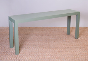 MINIC CUSTOM WOODWORK GREEN LACQUERED LINEN 'PARSONS' TABLE