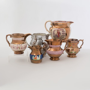 Group of Six Lusterware Pitchers