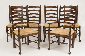 SET OF SIX ENGLISH LADDERBACK OAK DINING CHAIRS WITH RUSH SEATS