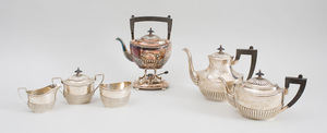 Gorham Sterling Silver Five-Piece Tea and Coffee Service, and a Gorham Silver Soldered Kettle on Warming Stand