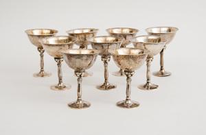 Set of Ten Georg Jensen Planished Silver Cocktails
