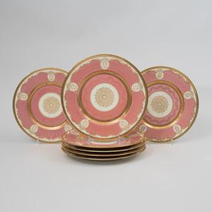 Set of Twelve Bavarian Pink Ground Dinner Plates