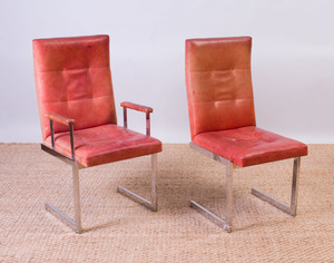 SET OF SIX VLADIMIR KAGAN CHROME AND LEATHER DINING CHAIRS