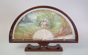 VICTORIAN PAINTED PAPER AND MOTHER-OF-PEARL FAN, IN A SHADOWBOX FRAME