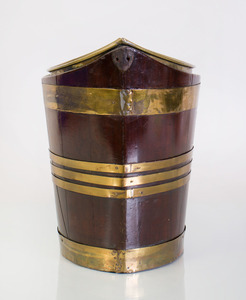 GEORGE III NAVETTE-SHAPED BRASS-BANDED MAHOGANY PEAT BUCKET