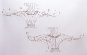 PAIR OF CONTINENTAL WHITE PAINTED IRON EIGHT-LIGHT SCONCES