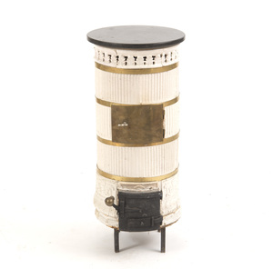 SCANDINAVIAN BRASS-MOUNTED WHITE-GLAZED CERAMIC CYLINDRICAL STOVE