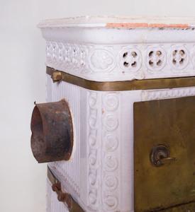 Swedish White Glazed Ceramic Rectangular Stove