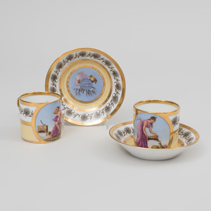 Pair of Stone, Coquerel et Legros Empire Coffee Cans and Saucers Emblamatic of August and September
