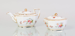 SPODE PORCELAIN TEAPOT AND COVER WITH MATCHING SUGAR BOWL